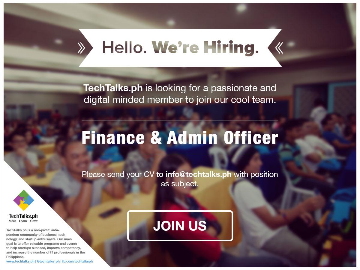 TechTalks Hiring Finance and Admin Executive